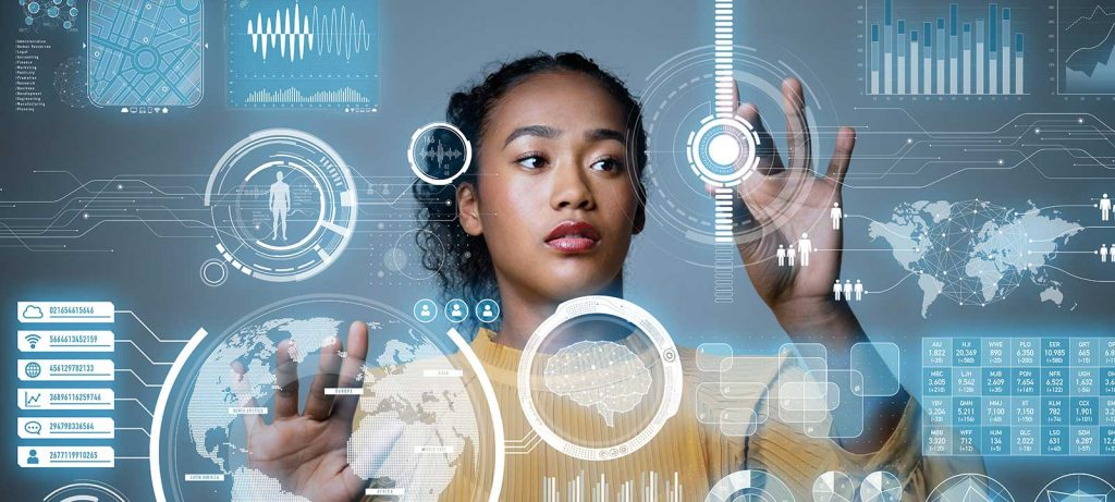 woman with graphic user interface