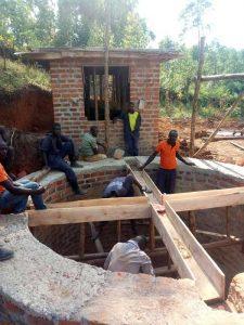 Work on well in Uganda
