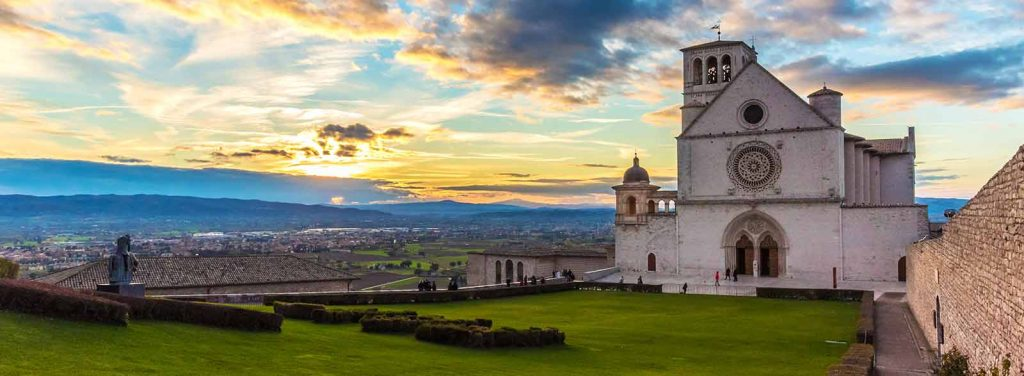 Basilica at Assisi at sunset