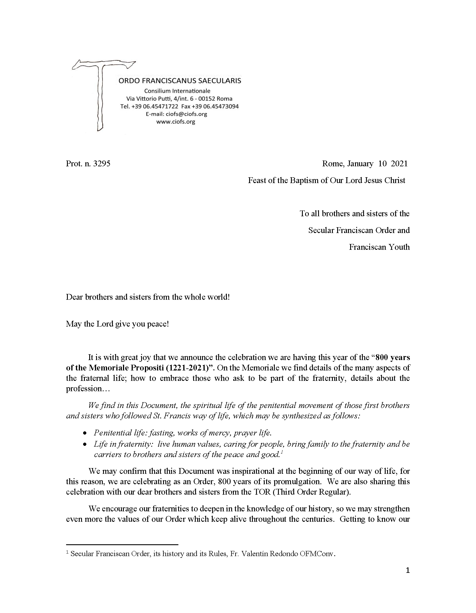 Memoriale Propositi letter