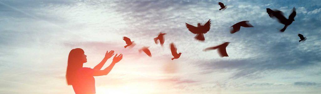 Person releasing birds - detachment